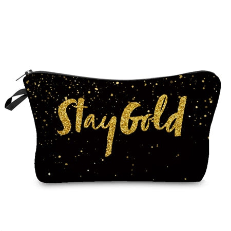 Gold Pattern Cosmetics Bag