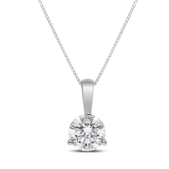 Taya Diamond Pendant in White Gold - madeinUSAdiamonds