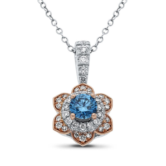 Blue Flora Diamond Pendant in White and Rose Gold - madeinUSAdiamonds