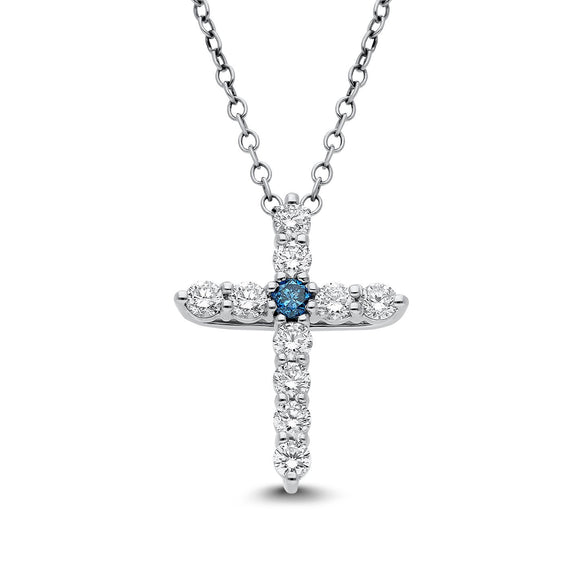 Blue Elpis Diamond Pendant in White Gold - madeinUSAdiamonds
