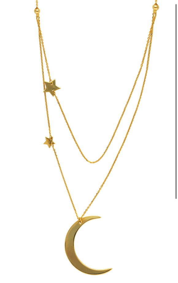 Half Moon & Star Layered Necklace