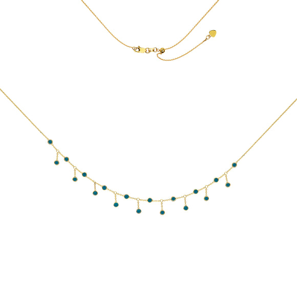 14kt Choker Necklace With Turquoise Charms