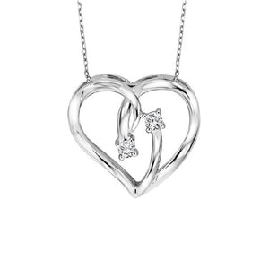 Sterling Silver Twogether Diamond Heart Pendant
