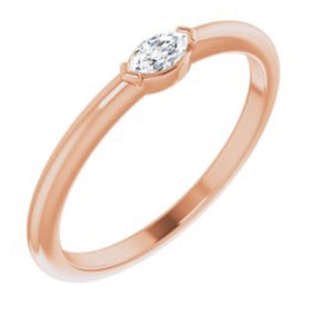 14kt Rose Gold Solitaire Marquise Ring