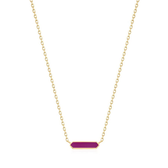 Berry Enamel Bar Gold Necklace