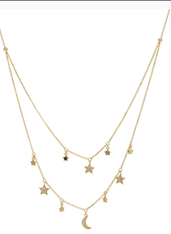 Diamond Double Strand Celestial Charm Necklace