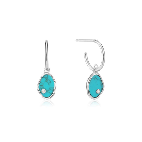 Silver Tidal Turquoise Mini Hoop Earrings