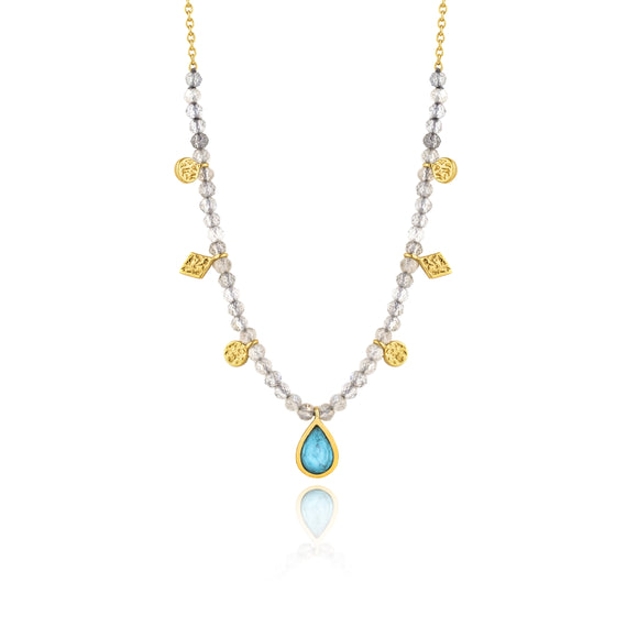 Turquoise Labradorite Gold Necklace