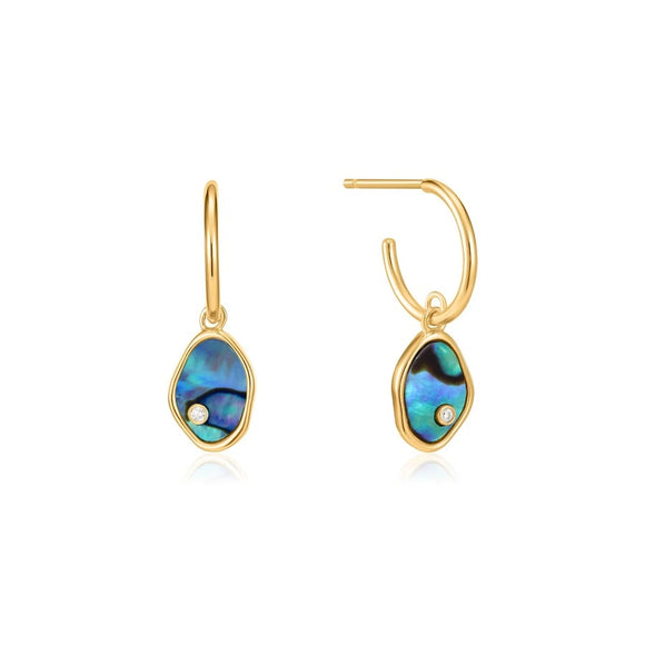 Gold Tidal Abalone Mini Hoop Earrings
