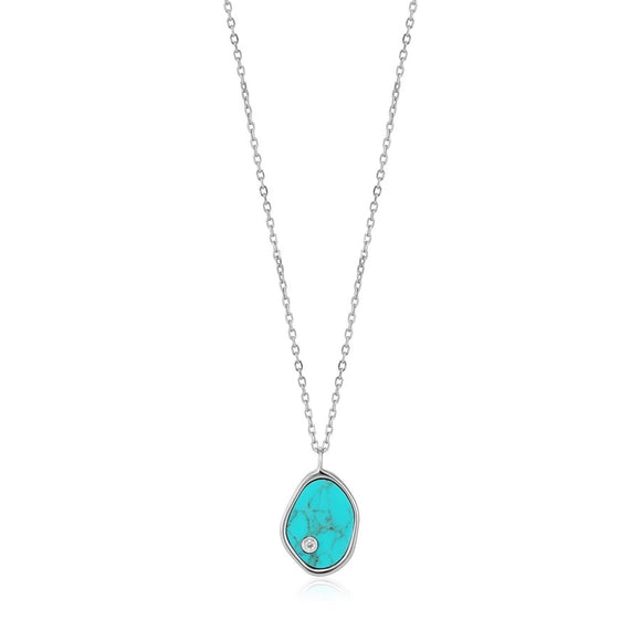 Silver Tidal Turquoise Necklace
