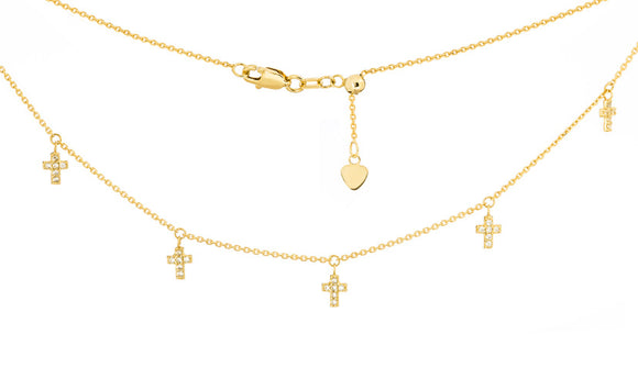 14kt Gold CZ Cross Choker Necklace