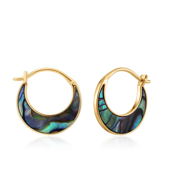 Gold Tidal Abalone Crescent Earrings