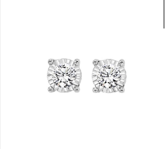 True Reflection Diamond Stud Earrings 1/10 CTW