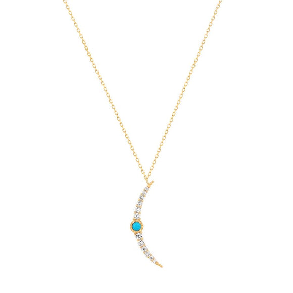 NORA | Turquoise & White Sapphire Crescent Moon Necklace