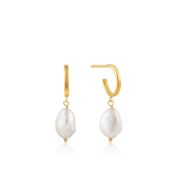 Gold Pearl Mini Hoop Earrings