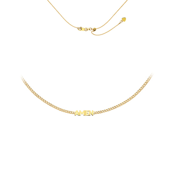 "14kt  ""Amen"" Choker Necklace"