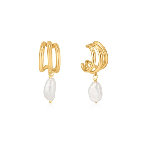 Triple Mini Hoop Earrings With Baroque Pearl