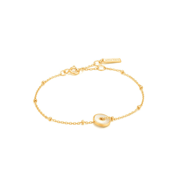 Ania Haie Gold Mother Of Pearl Disc Bracelet