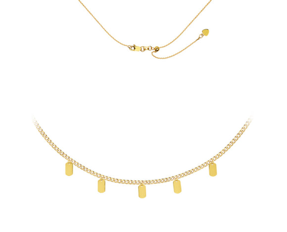 14kt Gold Choker Necklace With Dangle Charms