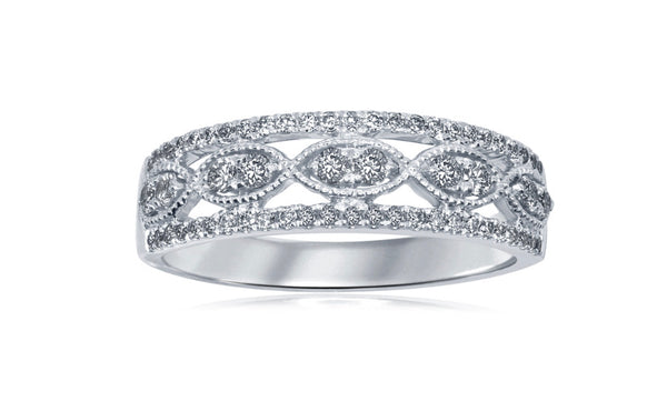14K White Gold Fashion Diamond Band 1/3 Ctw
