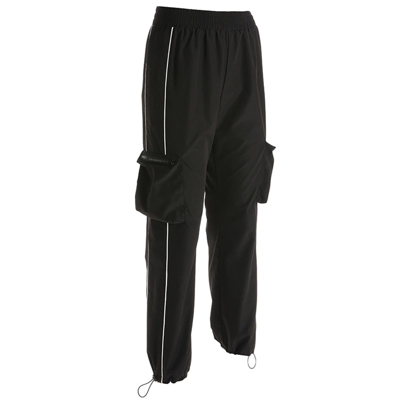 New Women's Black Striped Cargo Pants