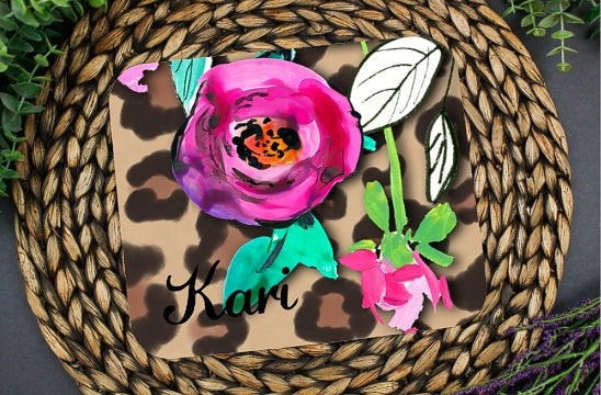 Personalized leopard and floral mouse pad