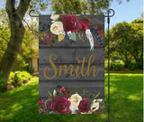 Personalized name flag wood&flowers