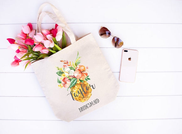 Pineapple floral name bridesmade tote