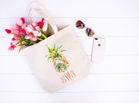 Personalized monogram pineapple tote