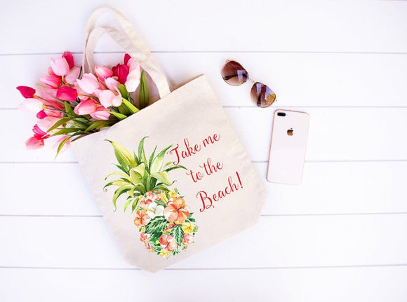 Take me to the beach floral pineapple tote