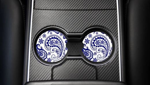 Blue paisley car coaster