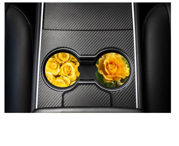 Yellow rose car coasters