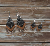 Black glitter animal print earrings