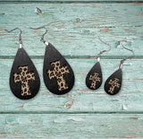 Black cheetah cross earring