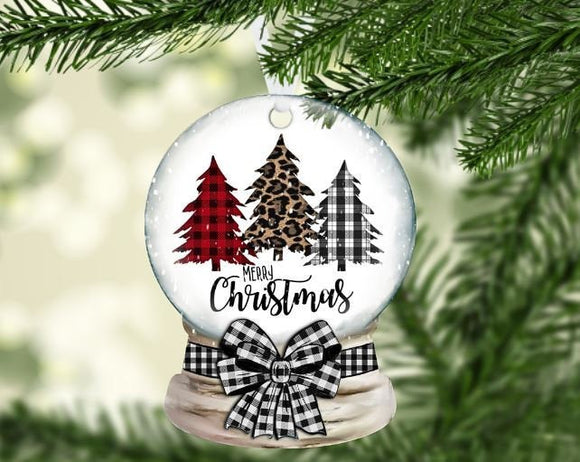 Christmas three tree snow globe ornament
