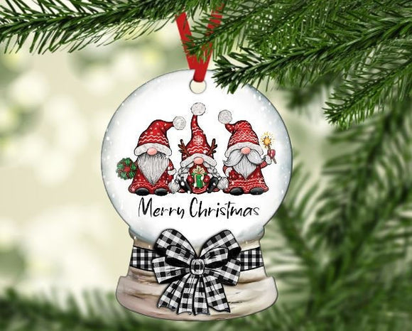 Christmas gnome snow globe ornament