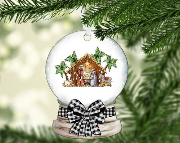 Christmas snow globe manger scene ornament