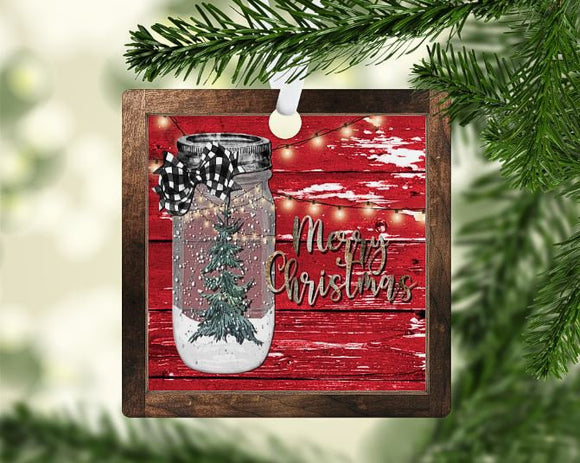 Christmas Merry Christmas mason jar ornament