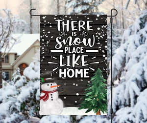 Christmas snow place like home flag