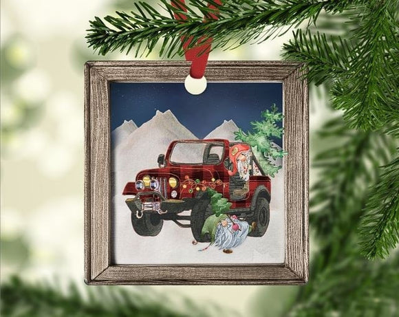 Christmas jeep ornament
