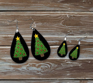 Christmas earrings, sweater tree