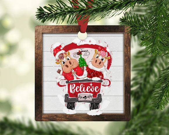 Santa and farm animals christmas ornament