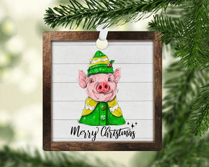 Christmas elf pig ornament