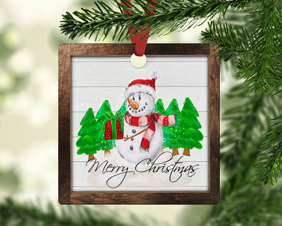 Christmas snowman and tree ornament
