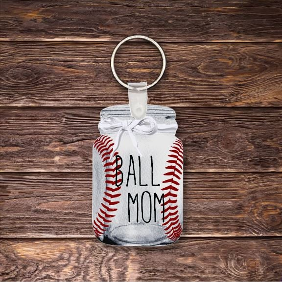 Ball mom baseball keychain