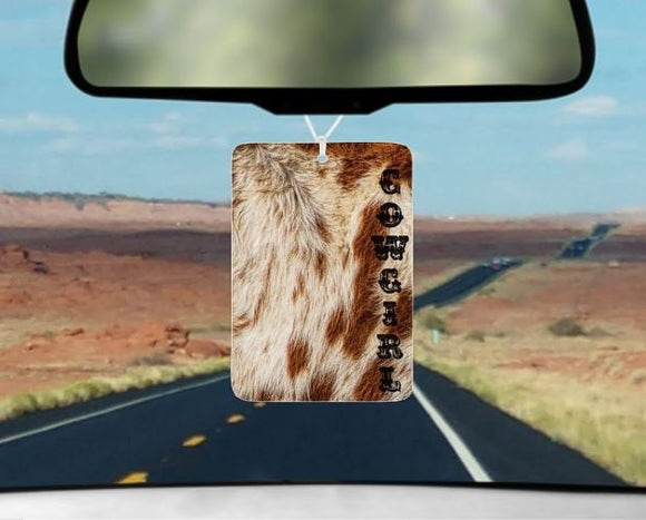 Cowgirl cow print car air freshener