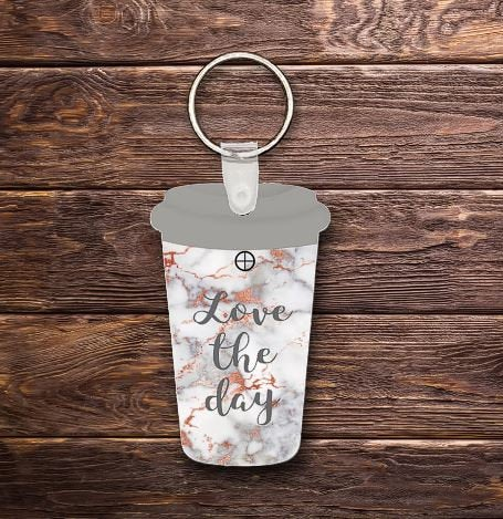 Love the day travel cup key chain