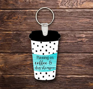 Coffee and dry shampoo key chain