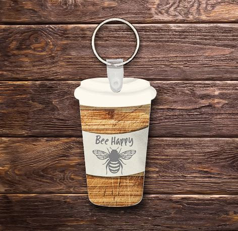 Bee Happy travel cup keychain