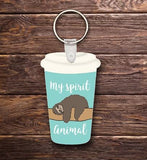 Sloth travel cup key chain